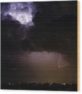 Lightning Thunderstorm Cell 08-15-10 Wood Print by James BO  Insogna