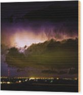Lightning Thunderstorm Cloud Burst Wood Print