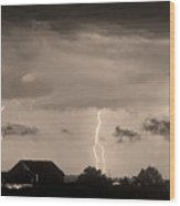 Lightning Thunderstorm July 12 2011 Strikes Over The City Sepia Wood Print