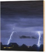 Lightning Thunderstorm July 12 2011 Two Strikes Over The City Wood Print