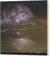 Lightning Thunderstorm With A Hook Wood Print
