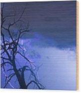 Lightning Tree Silhouette 38 Wood Print