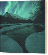 Lights Above Kjellerkampen Wood Print
