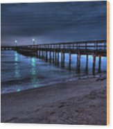 Lights At The End Of The Pier Wood Print