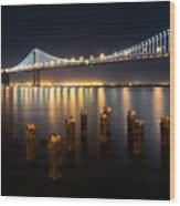 Lights By The Bay Wood Print
