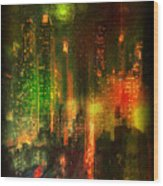 Lights In The City Wood Print