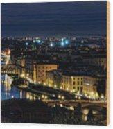 Lights Of Florence Wood Print