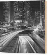 Lights Of Hong Kong Wood Print