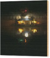 Lights On Dark Water The Mississippi Wood Print