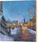 Lights On Elmwood Ave Wood Print