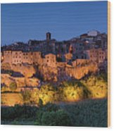 Lights On Pitigliano Wood Print