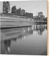 Lights Through The Nashville Skyline In Black And White Wood Print