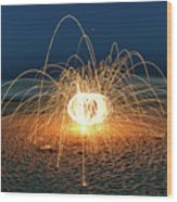 Lighty Fireworks Wood Print