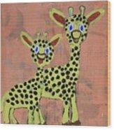 Lil Giraffes Wood Print