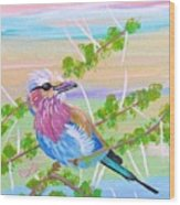 Lilac Breasted Roller In Thorn Tree Wood Print