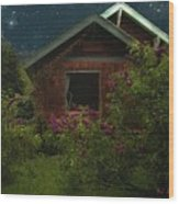 Lilac Cottage By Moonlight Wood Print