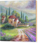 Lilac Fields In The Italian Countryside   Wood Print