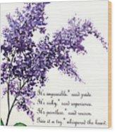 Lilac  Poem Wood Print