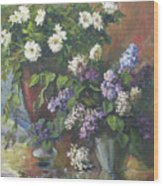Lilacs And Asters Wood Print by Tigran Ghulyan