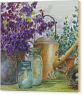 Lilacs And Ball Jars Wood Print