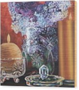 Lilacs And Candles Wood Print