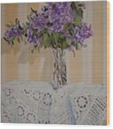 Lilacs And Lace Wood Print