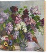 Lilacs And Pansies Wood Print