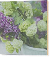 Lilacs And Snowballs Wood Print