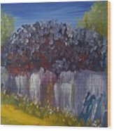 Lilacs On A Fence  Wood Print