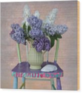 Lilacs With Chair And Shell Wood Print