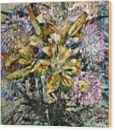 Lilies And Chrysanthemums.1999 Wood Print