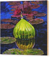 Lilies And Glass Reflections Wood Print