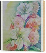 Lilies And Mums Wood Print