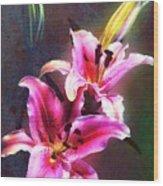 Lilies At Night Wood Print