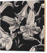 Lilies Black And White II Wood Print by Elizabeth Lane