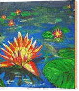 Lilies By The Pond Wood Print