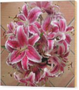 Lilies Gathered On Tile Wood Print
