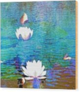 Lilies In Abstract Wood Print