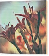 Orange Lilies Of The Day Wood Print