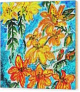 Lilies Of The Lake Wood Print
