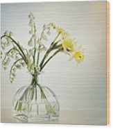 Lilies Of The Valley In A Glass Vase Wood Print