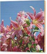 Lilies Pink Lily Flowers Art Prints Floral Summer Garden Baslee Troutman Wood Print