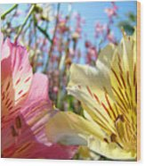 Lilies Pink Yellow Lily Flowers Canvas Art Prints Baslee Troutman Wood Print
