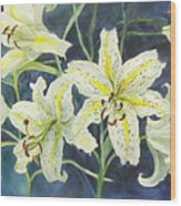 Lilies So White Wood Print