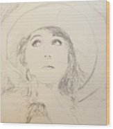 Lillian In Hat Wood Print