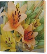 Lillies - Peach And Yellow Colors Wood Print