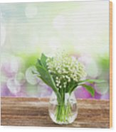 Lilly Of Valley Posy In Glass Wood Print