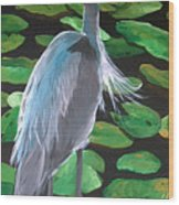 Lily And Egret Wood Print
