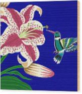 Lily And Hummingbird Wood Print