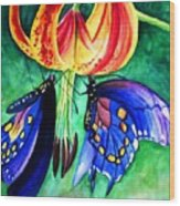 Lily And The Butterflies Wood Print